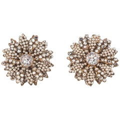 Beautiful seed pearl, rose montes 'floral' earrings, Miriam Haskell, 1950s