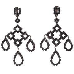 Black paste Deco inspired drop earrings, French, 1960s