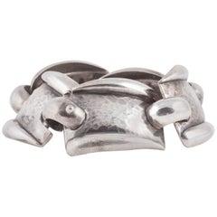 Artisanal modernist silver plate bracelet , 1950S