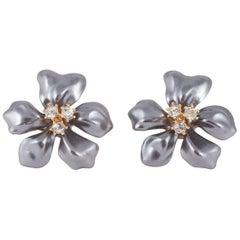 Large grey/paste 'flower' earrings, Kenneth Jay Lane, 1980s