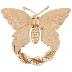 Russian gilt and pearl 'butterfly' brooch, Miriam Haskell