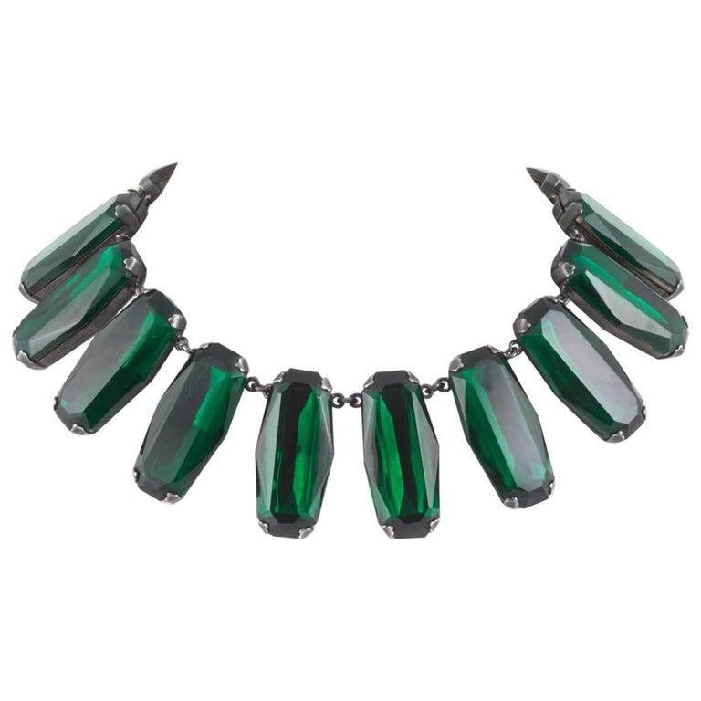 Superb deep emerald glass panel necklace, Yves Saint Laurent, 1980s For Sale
