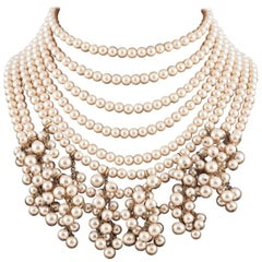Impressive multi row pearl collar/choker, Chanel, 1980s.