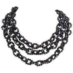 Black faceted bead three row 'loop' necklace, Coppola e Toppo, 1960.