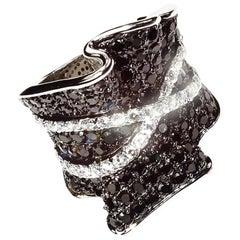 Sparkly Black and White Dinner Ring