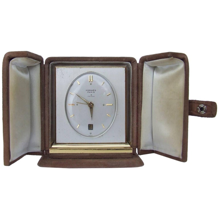 Hermes Vintage Small Travel Clock With Alarm in its Original Case Swiss Made
