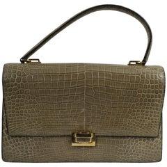 Hermes Vintage  Crocodile Bag With Golden Hardware