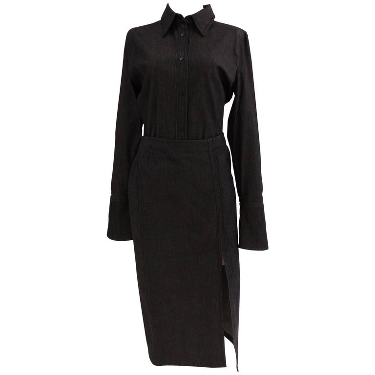 Gucci grey cotton skirt suit