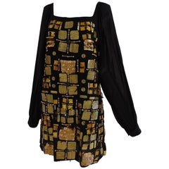 Emilio Pucci black silk dress with gold tone and black sequines