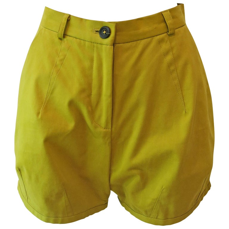 Chartreuse Cotton Twill Mini Shorts