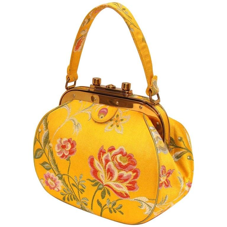 Nettie Rosenstein Yellow Silk floral Handbag