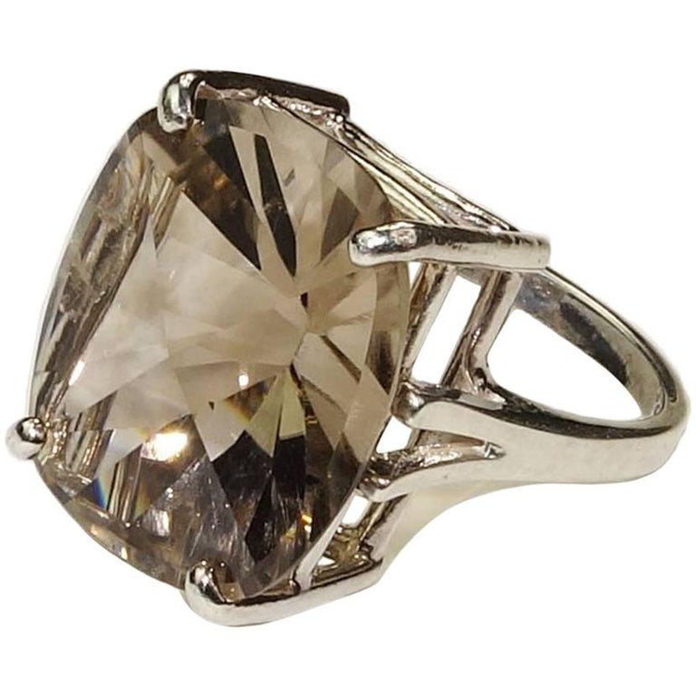 smoky quartz and sterling silver ring for sale at 1stdibs