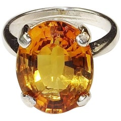 Oval Deep Golden Citrine and Sterling Silver Ring