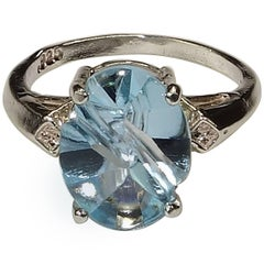 Oval, Fancy cut Blue Topaz and Sterling Silver Ring