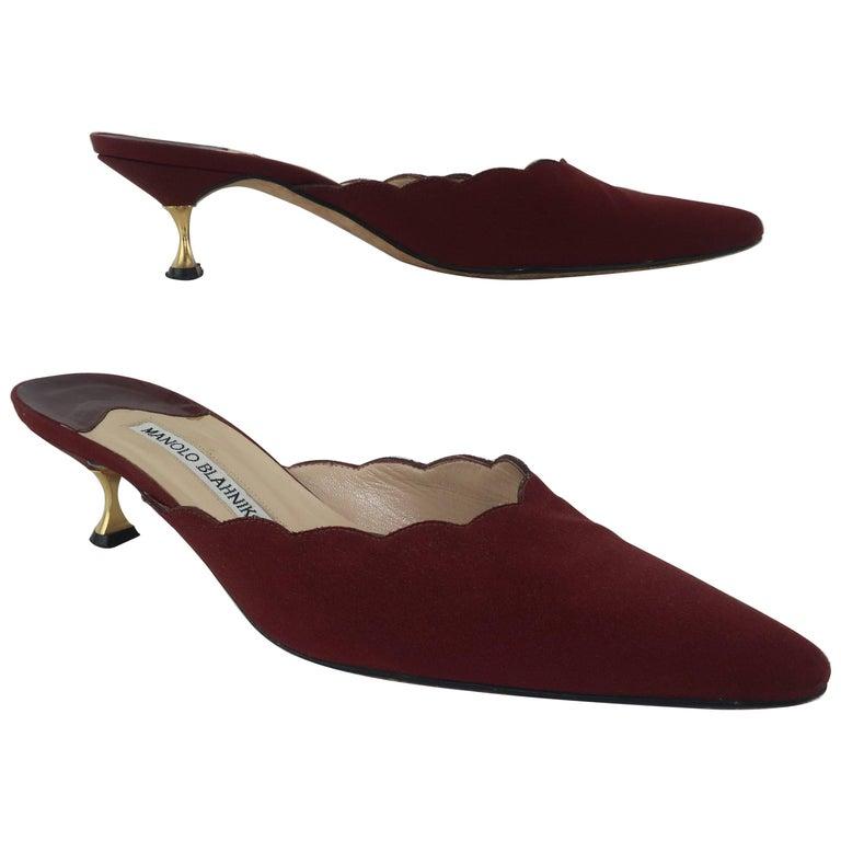 Manolo Blahnik Burgundy Mule Shoes With Gold Metal Kitten Heels Sz 37