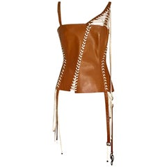 Dolce & Gabbana Tan Brown Leather Laced Corset Bustier  Style Tank Top