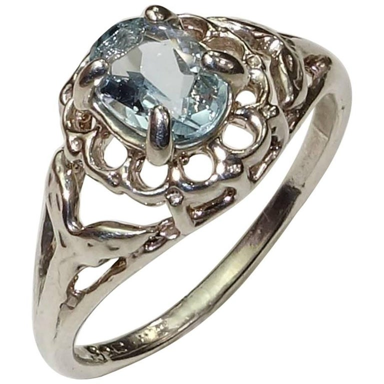 Aquamarine and Sterling Silver Ring For Sale at 1stdibs