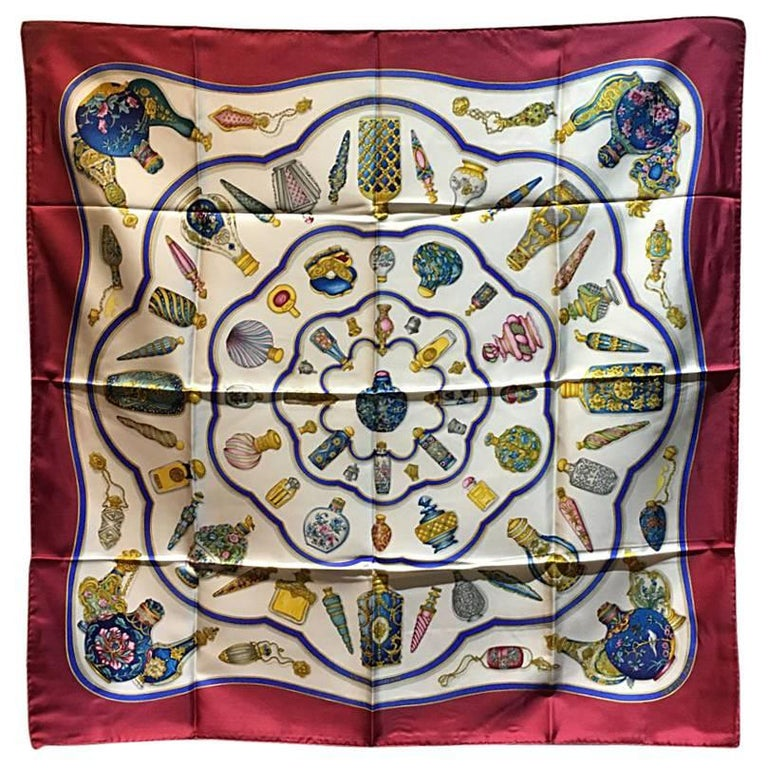 Hermes Vintage Qui' Import le Flacons Dark Red Silk Scarf