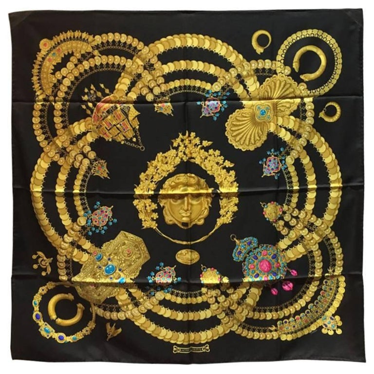 Hermes Vintage Kosmima Silk Scarf in Black For Sale
