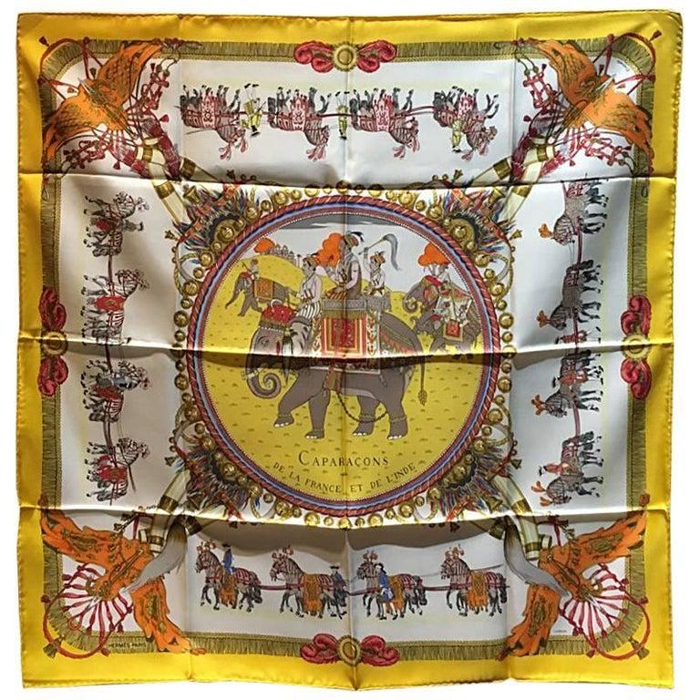 Hermes Vintage Caparacons de la France  Silk Scarf in Yellow