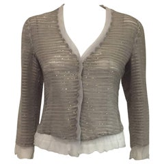 Giorgio Armani Sterling Organza Jacket w/Abstract Applique and Beadwork Allover