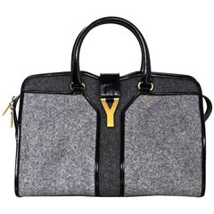 Yves Saint Laurent Cabas ChYc Medium Flannel and Patent Leather Tote Bag