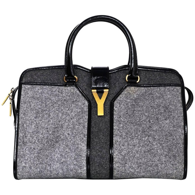 8912146e82ac Yves Saint Laurent Cabas ChYc Medium Flannel and Patent Leather Tote Bag  For Sale