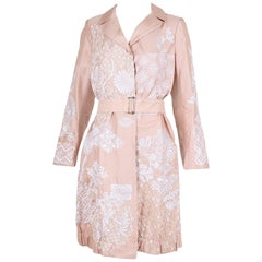 Dries Van Noten Silk Belted Coat w/Sequins & Embroidery