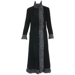 1970's Valentino Black Silk Velvet Evening Coat w/Pleated Silk Trim