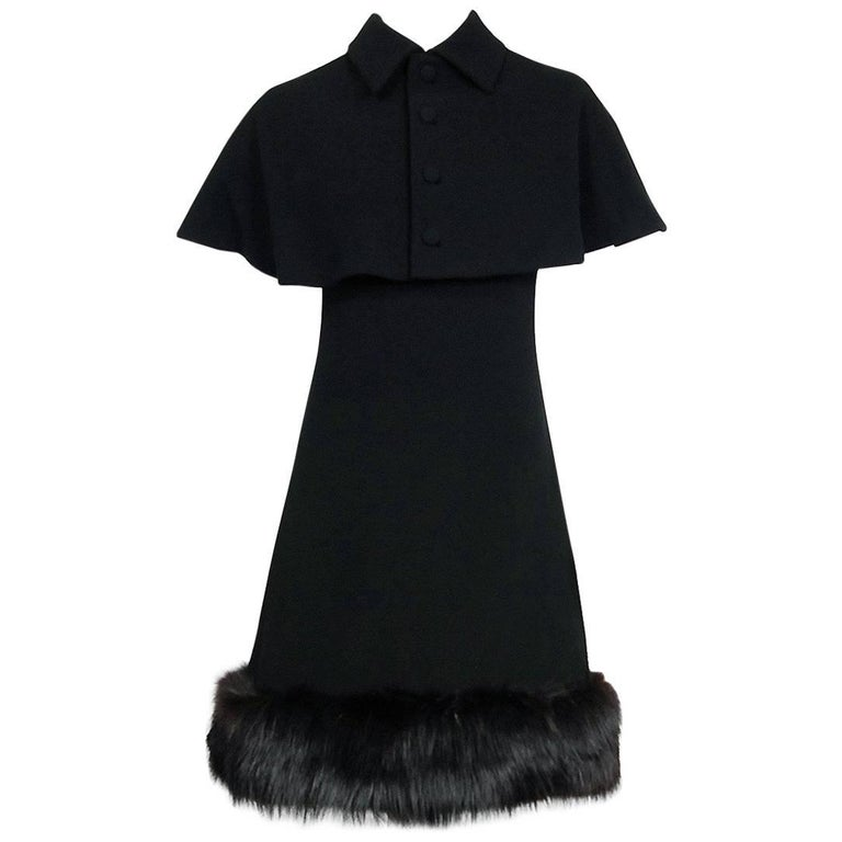 1965 Pauline Trigere Black Wool & Genuine Fox-Fur Cocktail Dress & Capelet Set For Sale