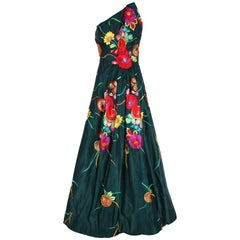 Arnold Scaasi Couture Satin Strapless Evening Gown with Floral Embroidery