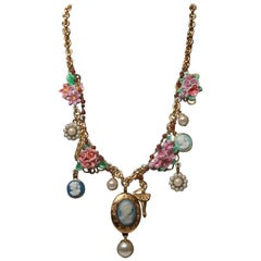Dolce & Gabbana Sicily inspired Floral Charm Necklace NWT and Box