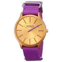 Versus purple camouflage double wrists watch