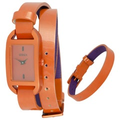 Versus orange vernish leather double wrists watch