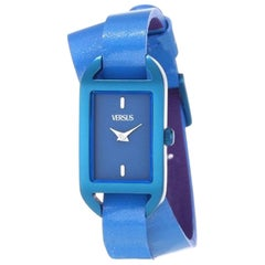 Versus blu vernish leather double wrists watch