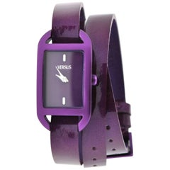 Versus purple vernish leather double wrists watch