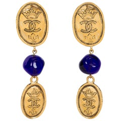 Chanel Blue Gripoix Logo Coin Earrings