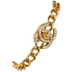 Chanel Gold Plated Rhinestone Turnlock Bracelet