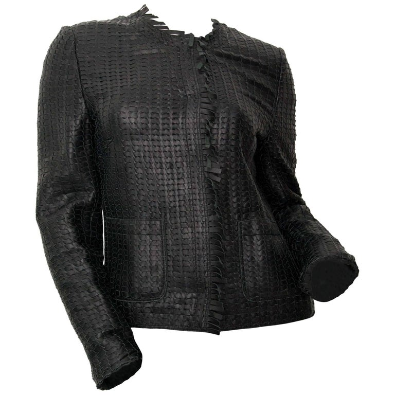 Dolce And Gabbana Black Leather Woven Vest