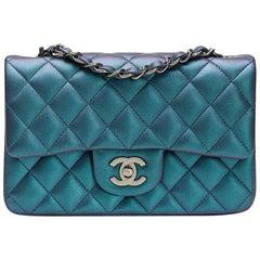 2017 Chanel Turquoise Metallic Quilted Lambskin Rectangular Mini Flap Bag