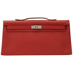 2007 Hermes Rouge Garance Swift Leather Kelly Longue Clutch