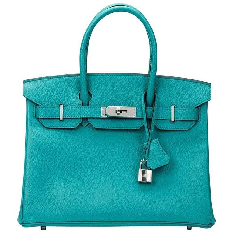 2016 Hermes Blue Paon Epsom Leather Birkin 30cm