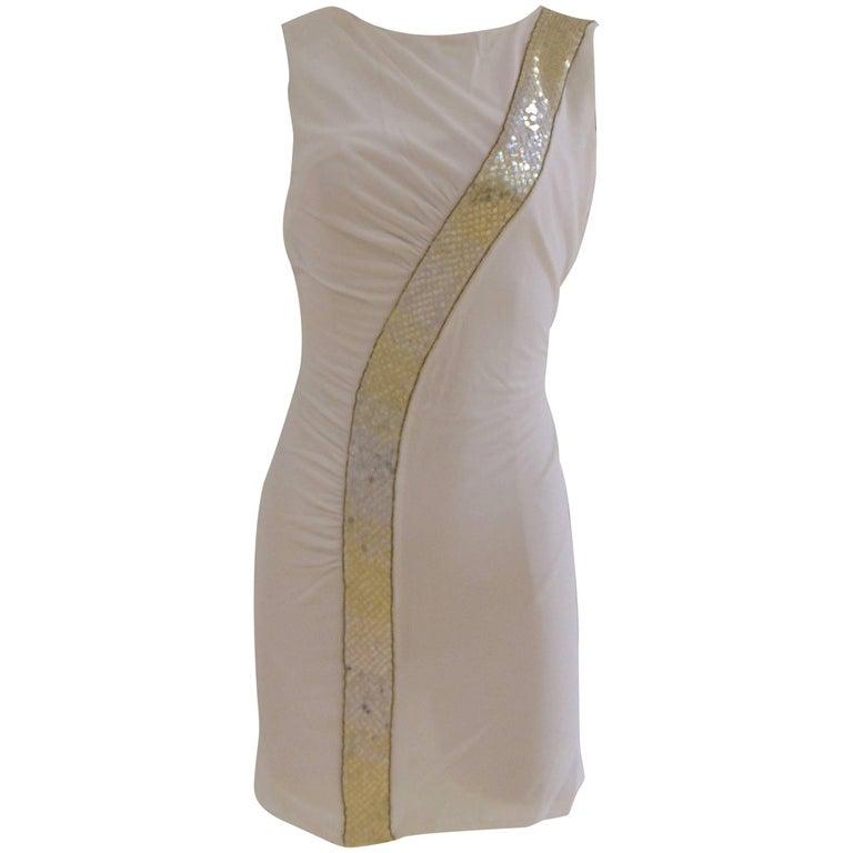 Emilio Pucci white dress gold tone sequines