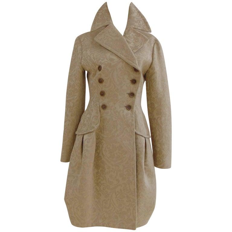 John Galliano cream damasque coat For Sale