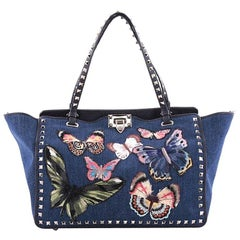 Valentino Rockstud Tote Denim with Butterfly Applique Medium