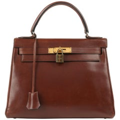 "HERMES c.1964 ""Kelly"" 28 cm Brown Box Calf Leather Top Handle Purse"
