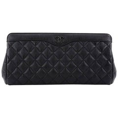 Chanel So Black Two Tone Clutch Quilted Calfskin Medium