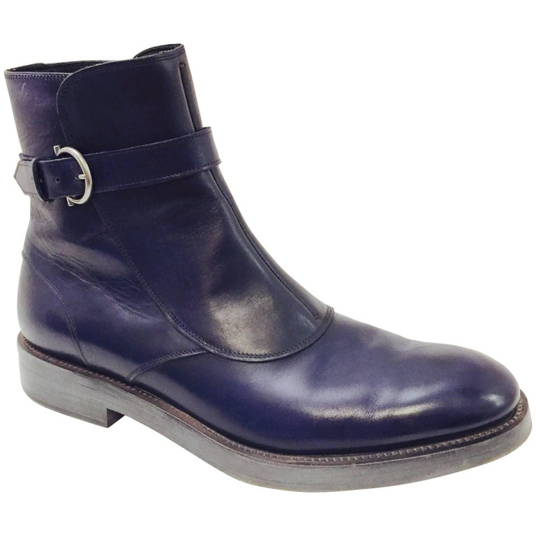 Men's Power Ankle Boot by Salvatore Ferragamo in Lapis Blue Sz 10 1/2 D