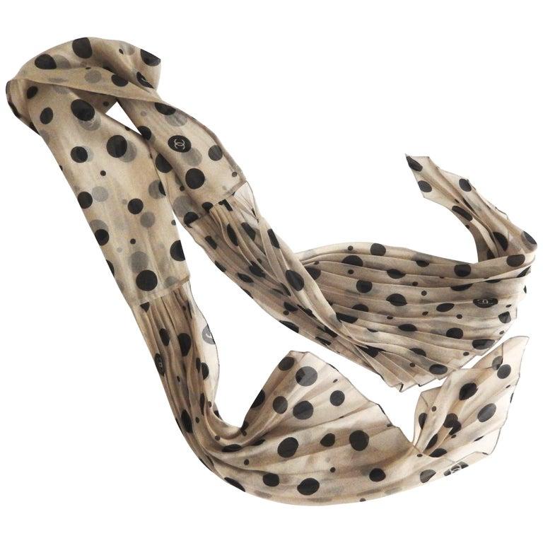 Mid-Century Chanel Polka Dot Pleated Silk Scarf