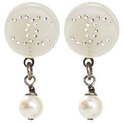 Chanel Resin & Pearl CC Pierced Earrings